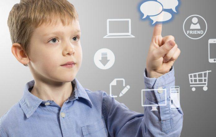 Boy accessing futuristic entertainment applications